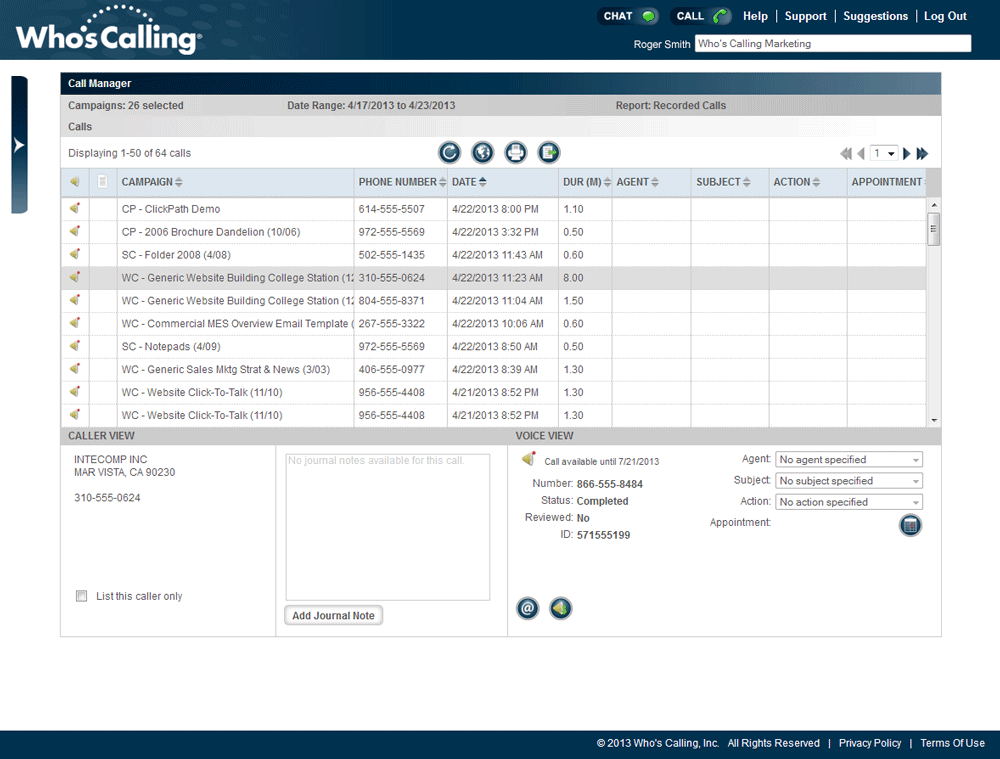 Inbound Call Tracking Screenshot
